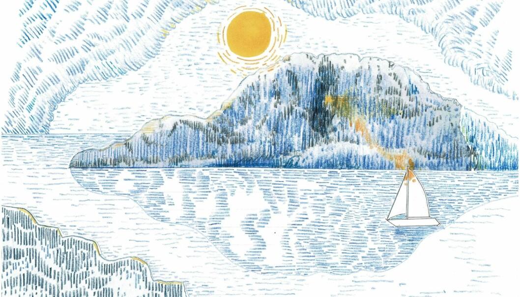 TORGHATTEN: Kan man som seiler fange sollyset gjennom hullet i den berømte Torghatten utenfor Berg på Helgelandskysten, eller er det bare noe man innbiller seg? …. i så fall; tegnerens privilegium.