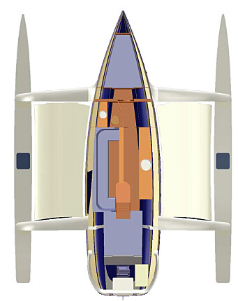 INNREDNING: Dragonfly 35 har eierlugaren forut, og en ekstrakøye under cockpitdørken.