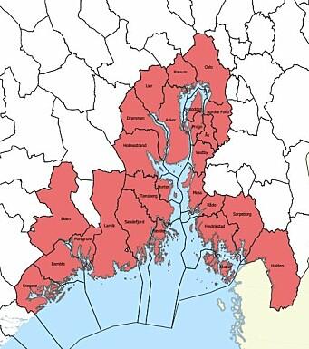 VIRKEOMRÅDE: Kartet viser kommunene som blir berørt av tiltakene (trykk på bildet for å se det større).
