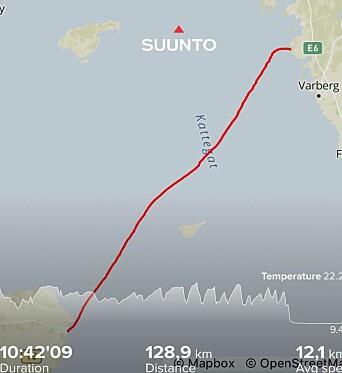 TRACKING: Dansken holdt høy fart, med høy puls, men slet med å fullføre da vind og bølger forsvant.