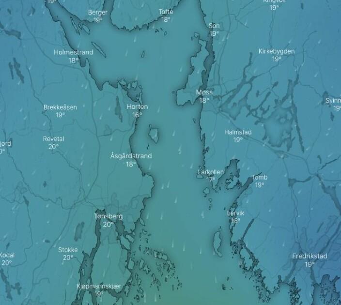 PROGNOSE: 4-8 m/s fra nord i Oslofjorden på torsdag.