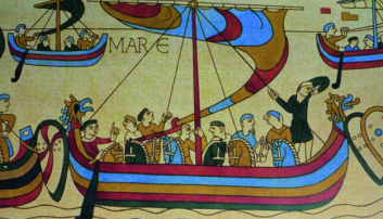 LANTERNE I TOPPEN: Hvordan ser du hvilket skip som er Vilhelm erobrerens på Bayeux-teppet? Jo, det er det eneste som fører lanterne i mastetoppen.