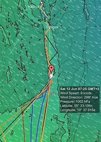 MÅL: De fleste båter går i mål lørdag morgen. Da vrir vinden seg over til nordvest. De tregere båten kan få kryss siste bit.