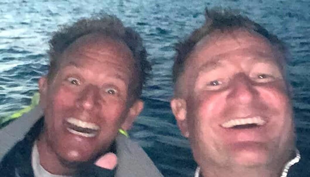 GLADE SEILERE: Per Bøymo og Peer Moberg kom først i mål årets Færderseilas