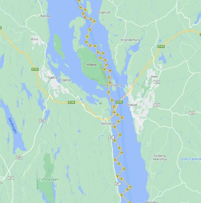 TRACKING: Sporet viser hvor Hertzberg seilte ut Drøbaksund.
