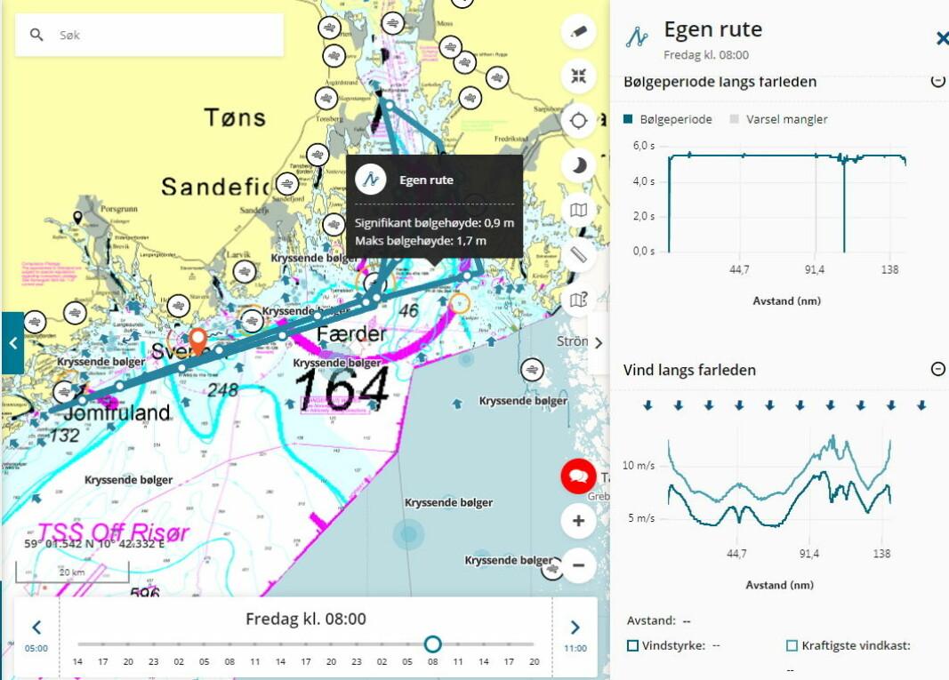BØLGEVARSEL: Kryssende bølger og sterk svenskestrøm vil prege regattaen.