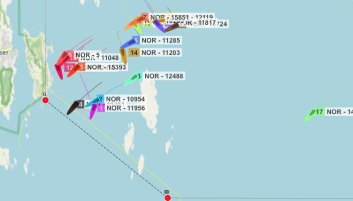 FÆRDER: Det minste feltet lå ved Færder da de store båtene startet kl. 10:00