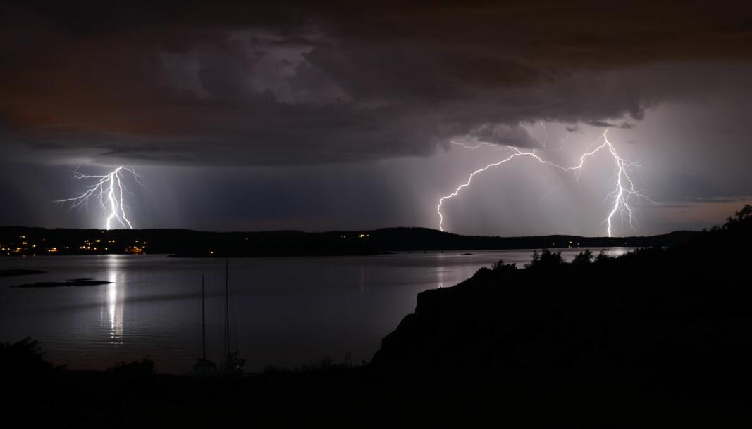 UVÆR: Lynnedslag over Nøtterøy, Vestfold.