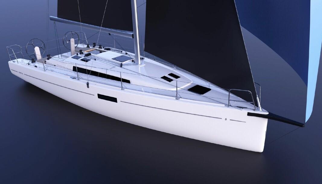 FIRST 36: Kun en tegning er publisert av den nye First 36 som fremstår som en relativt ordinær seilbåt.