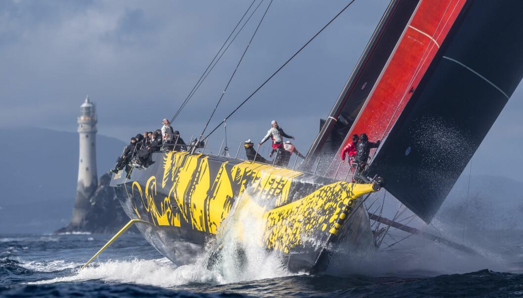 ENSKROGS: Skorpios» er rask, men har ikke sjans mot trimaranene. Også de raskeste IMOCA-båtene holder nesten følge.