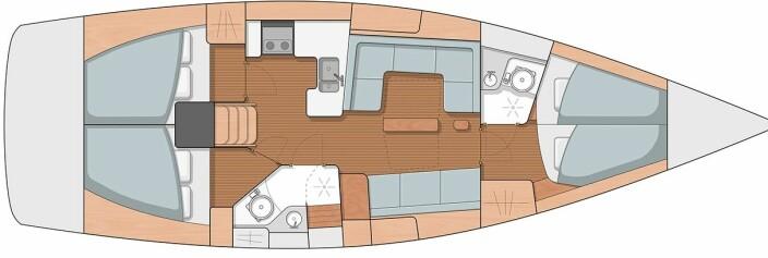 INNREDNING: Arcona 415 kan leveres i ulike innredningsløsninger og stiler. Her med tre lugarer og to bad.
