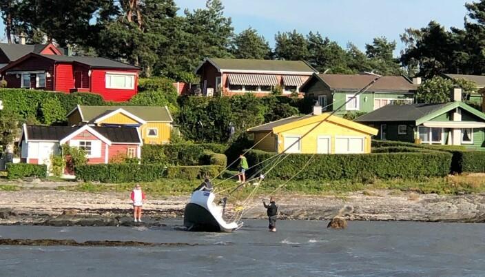 OSLOFJORDEN: Seilbåt mistet kontrollen og fikk landkjenning med en av øyene ved Oslo.