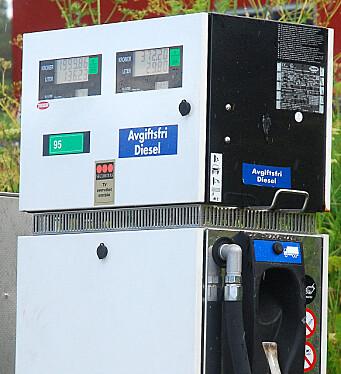 AVGIFTSFRITT: Slik var dieselpumpene merket før. Nå står det annlegsdiesel.