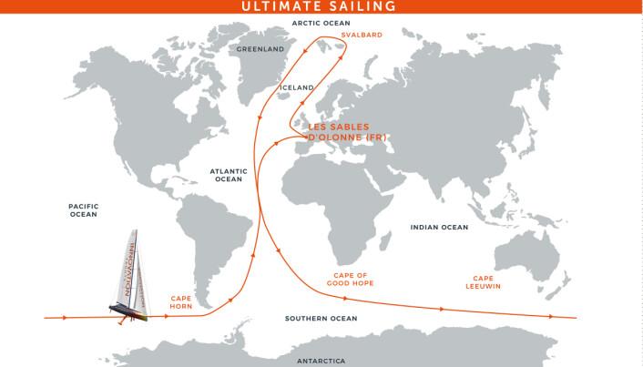RUTE: Norbert Sedlacek Koch skulle seile fra nord til syd og fra øst til vest.