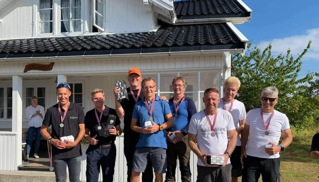 Medaljevinnerne i Soling. Fra venstre Terje Sorteberg, Torgeir Pedersen, Dag Usterud mangler, Lars Ingeberg, Alf Larsen, Bjorn Johanson, Jan-Kristian Vedeler, Øyvind Nilsson og Frode Johansen.