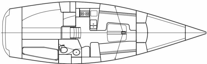 FINNFLYER: Innredningen lider av et smalt forskip, men med to lugarer så fungerer løsningen godt.