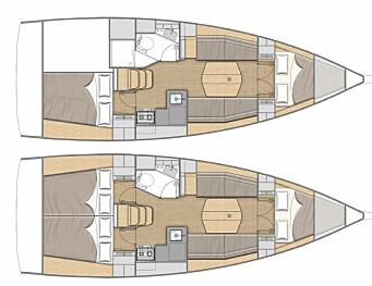 INNREDNING: Oceanis 34.1 leveres med to eller tre lugarer.